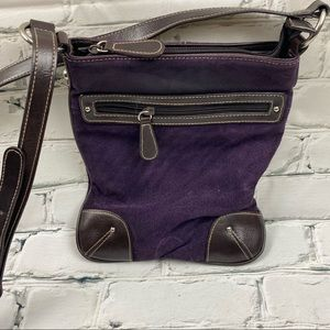 Purple and brown crossbody faux suede